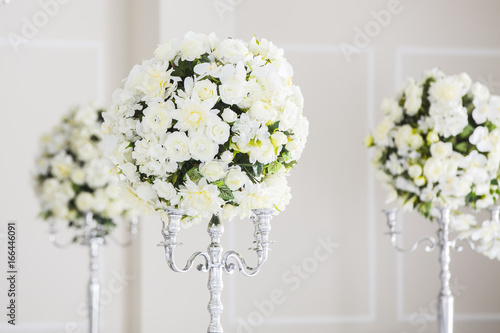 Elegant Wedding Reception Table Arrangement Floral Centerpiece