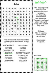 Jobs and occupations themed zigzag word search puzzle (suitable both for kids and adults). Answer included.