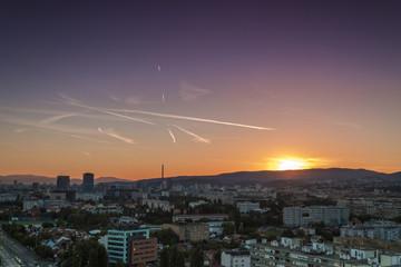 Zagreb skyline at sunrise