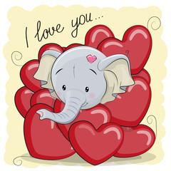 Cute Cartoon Elephant in hearts