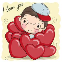 Cute Cartoon Boy in hearts