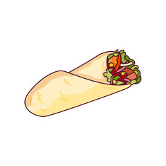 Vector chicken, vegetables roll, fast food meal. Doner gebab, shawarma flat cartoon illustration isolated on a white background. Arabic, eastern food, hand drawn image. Buritto, taco - mexican food