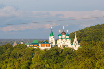 Pechersky Ascension Monastery and rope of cable car in Nizhny Novgorod