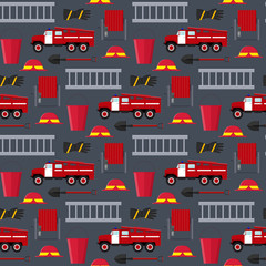 Firefighter Profession Equipment and Tools Background Pattern. Vector