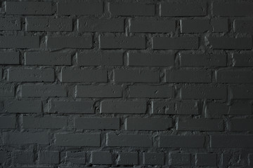 close-up view of black brick wall textured background