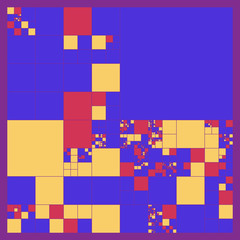 Subdivided squares grid system. Randomly sized polygons with fixed space between. Futuristic layout. Conceptual generative background. Procedural graphics. Creative coding.
