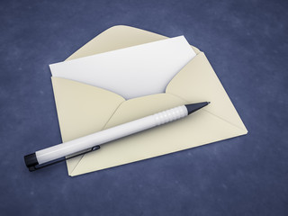 an envelope with a blank letter