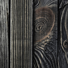 Dark Wood Background. Panel of Vertical Wooden Aged Boards
