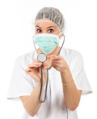 female doctor using stéthoscope