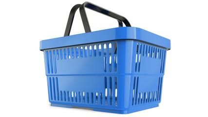 Plastic blue shopping basket. 3D model, 3D render, isolated on white background