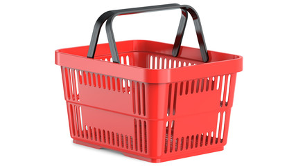 An empty red plastic shopping basket, 3d illustration, 3D render, isolated on white background