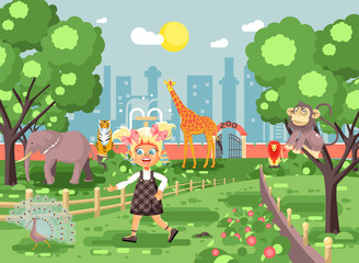 Photo sur Aluminium Chateau Vector illustration banner for site with schoolchild on walk, school zoo excursion zoological garden, blonde little girl monkey, peacock, elephant, lion, tiger, giraffe, wild animals flat style
