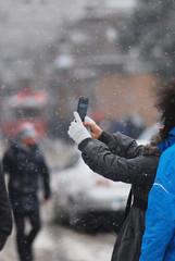 Person making selfie in winter