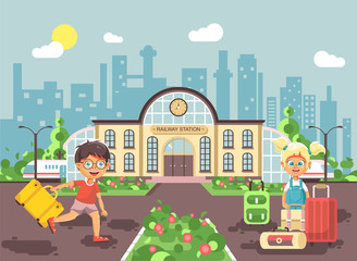 Vector illustration of cartoon characters children, late boy running on perron, little girl standing at railway station building with bags and suitcases awaiting train flat style city background