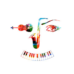 Music instruments, saxophone, violoncello and piano keyboard background. Music instruments forming human face isolated vector illustration design