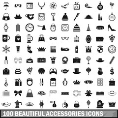 100 beautiful accessories icons set, simple style