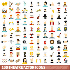 100 theatre actor icons set, flat style