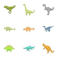 First dinosaur icons set, cartoon style