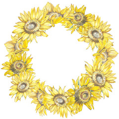 Illustration of a Sunflowers. Wreath in watercolor style. Beautiful round. Decor for invitations, greeting cards, posters.
