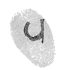 Alphabet Font fingerprint. Letter u. Vector illustration.