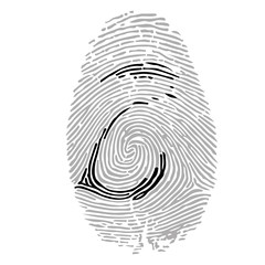 Alphabet Font fingerprint. Letter z. Vector illustration.