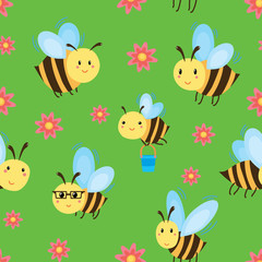 Seamless pattern with cartoon bees and flowers. Illustration for children. Wallpapers with merry flying bees. Prints for textiles.