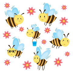 A set of cartoon bees. Vector illustration of flying bees with flowers. Drawing for children. Funny bumblebees. Art.