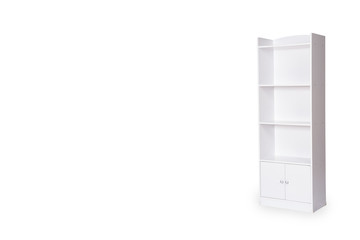 Empty bookshelf isolated on white background with space for copy.