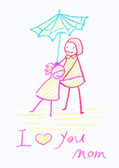 Childs crayon drawing of a Mother's Day card