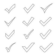 Checkmark outline set