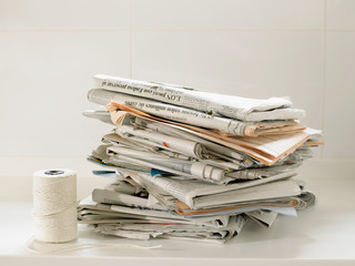 Newspapers and string for recycling