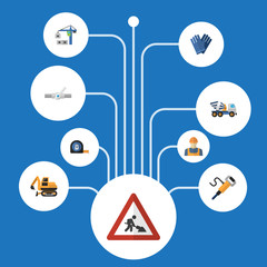 Flat Icons Worker, Hoisting Machine, Mitten And Other Vector Elements. Set Of Industry Flat Icons Symbols Also Includes Mixer, Cement, Tractor Objects.