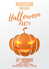 Party flyer design for halloween. Paper art style vector illustration. Festive card with pumpkin smile. Invitation to nightclub.