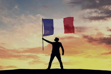 Male silhouette figure waving France flag. 3D Rendering