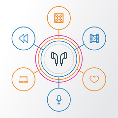 Music Outline Icons Set. Collection Of Notebook, Backward, Enlarge And Other Elements. Also Includes Symbols Such As Headphone, Headset, Heart.