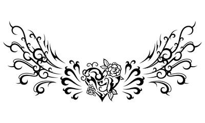トライバル オーナメント17 ハートと薔薇と翼
