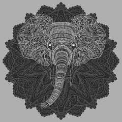 Stylized head of an elephant. Ornamental portrait of an elephant. Black and white drawing. Indian. Mandala. Vector illustration.