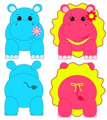 Nilpferde, Junge und Mädchen, Hippopotamus, süße Nilpferd-babys, beidseitig, gespiegelt, Kinderillustration