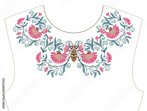 Embroidery For Neckline Collar For T Shirt Blouse Shirt Pattern