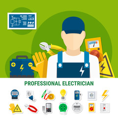 Electrician Flat Icons Set