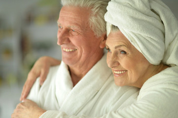 couple   at home in a bathrobes