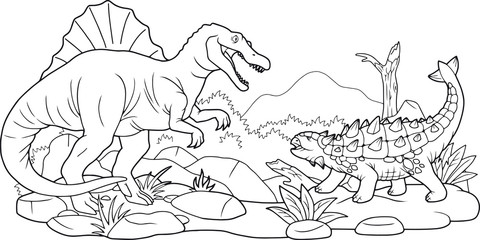 cartoon dino battle, coloring book