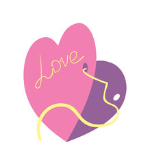 Happy valentine day isolated icon with gift card. Love and wedding romantic symbol, just married hand drawn vector illustration.