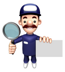 3D Service Character is holding the Magnifier and Business Card.