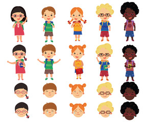 A set of schoolboys in the cartoon style. A collection of merry children going to school. Designer boys and girls with a set of emotions. Vector illustration for children.