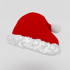 Santa's red hat on white background, 3d rendered