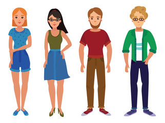 Set of young people. A collection of students in cartoon style. Constructor of an adult. Vector illustration of guys and girls. Drawing for children. Art.