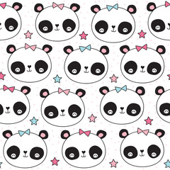 seamless cute panda animal pattern vector illustration