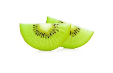 Close up slice kiwi fruits isolated on white background.