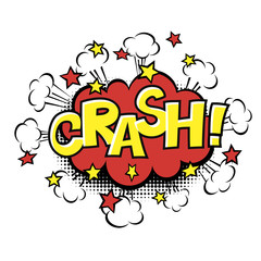 CRASH! phrase in speech bubble. Comic text. Vector bubble icon speech phrase. Comics book balloon. Halftone background.